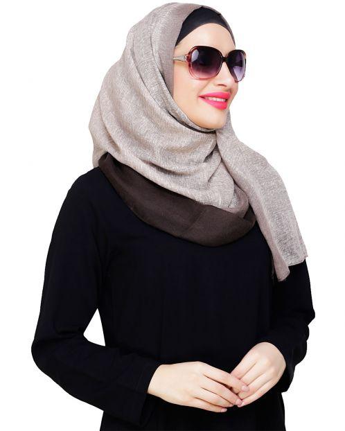 Dark Brown Ombre Printed Hijab