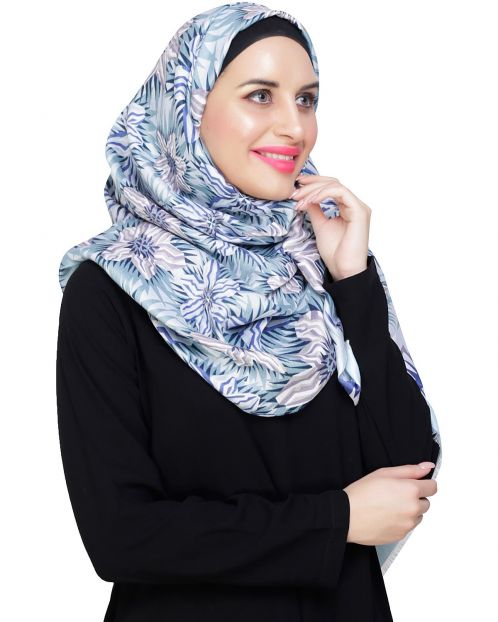 Abstract flower printed Ice Blue Hijab