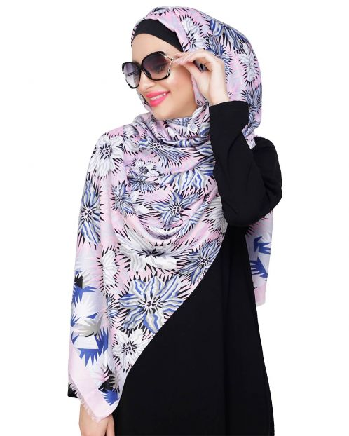 Abstract flower printed Baby Pink Hijab