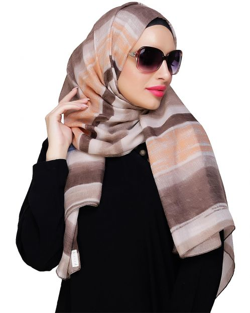 Mutlicolour striped Brown Hijab