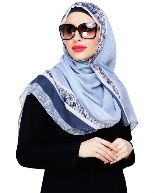 Marble Border Print Blue Hijab