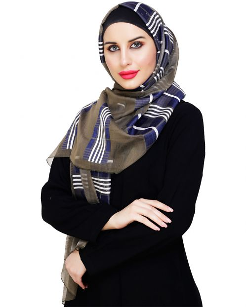 Organza Weaved Olive Blue Hijab