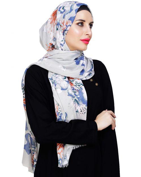 Summer Elegance Floral Sage Green Hijab