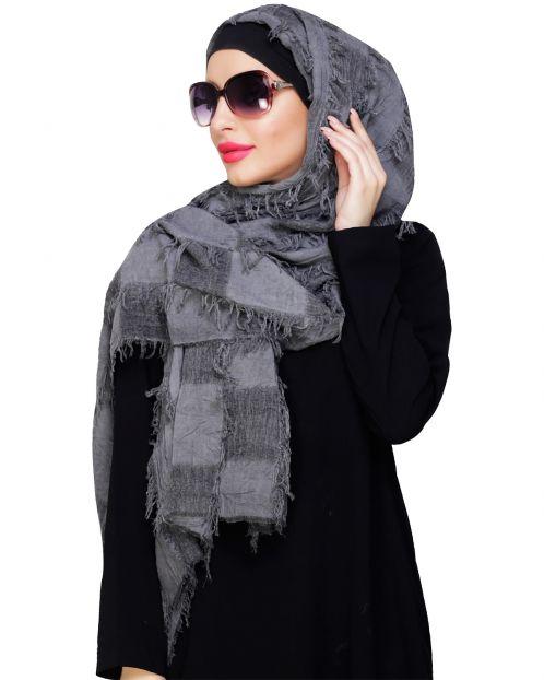 Stone Wash Fringe Hijab