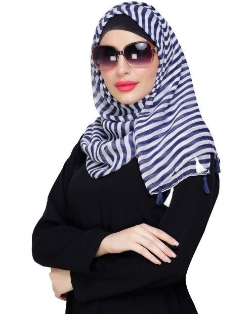 Funky Tassel Blue Hijab