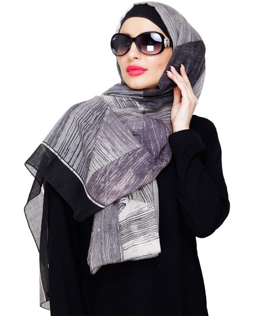 Multi Color Grey Abstract Hijab
