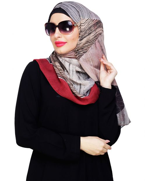 Multi Color Maroon Abstract Hijab