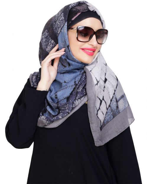 Spunky Multicolour Abstract Grey Hijab