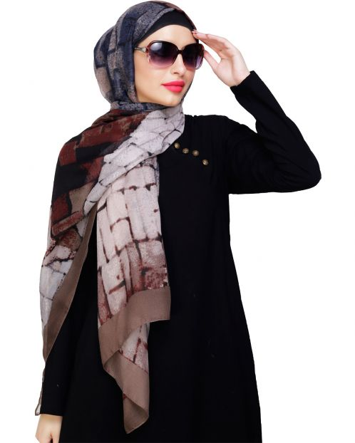 Spunky Multicolour Abstract Brown Hijab