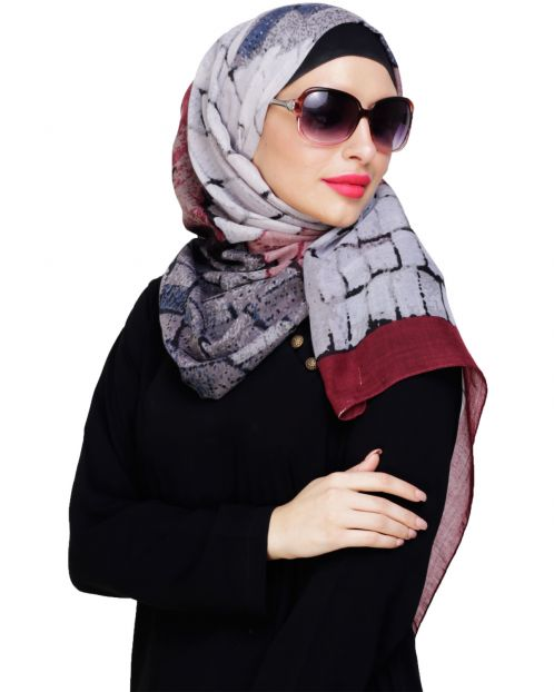 Spunky Multicolour Abstract Wine Hijab