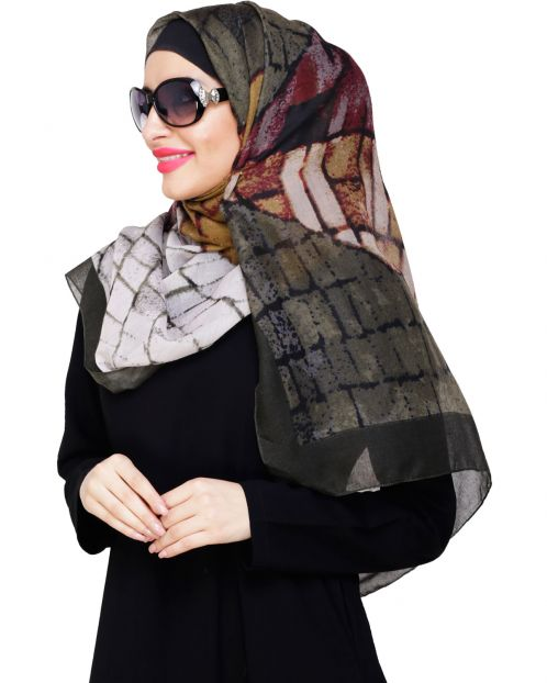 Spunky Multicolour Abstract Olive Hijab
