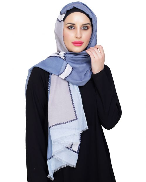 Fancy colourblock Blue Hijab