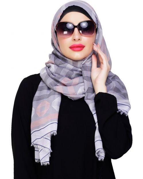 Geometric Printed Grey Hijab