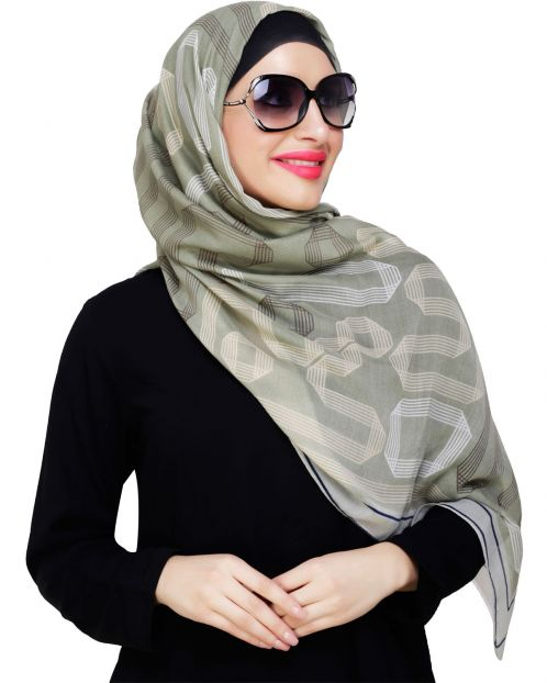 Geometric Printed Green Hijab