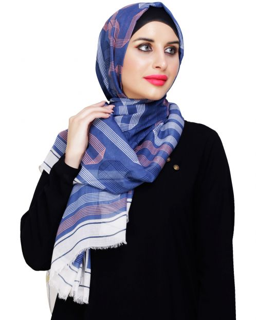 Geometric Printed Blue Hijab