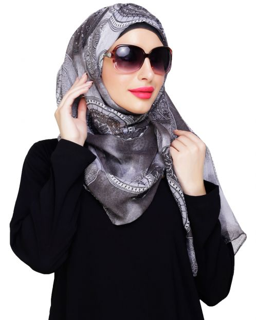 Mandala Printed Grey Hijab