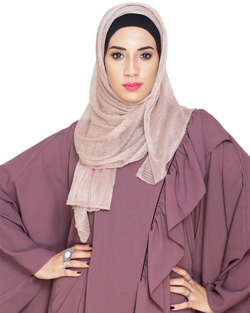 Fawn Crinkled Glitter Hijab