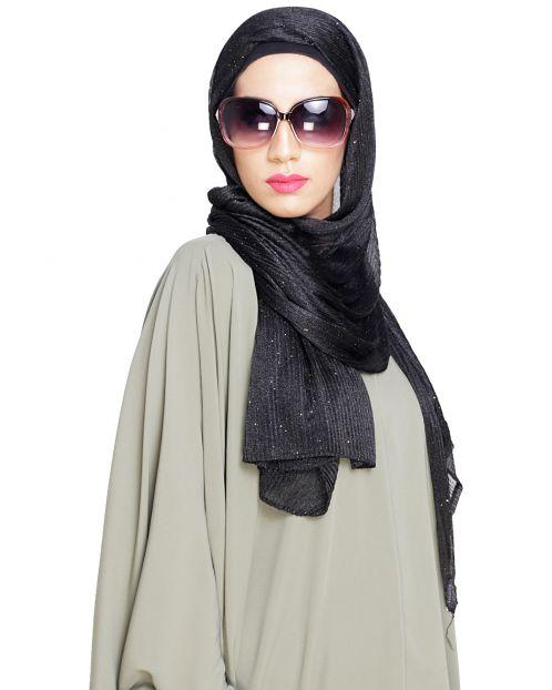 Black Crinkled Glitter Hijab