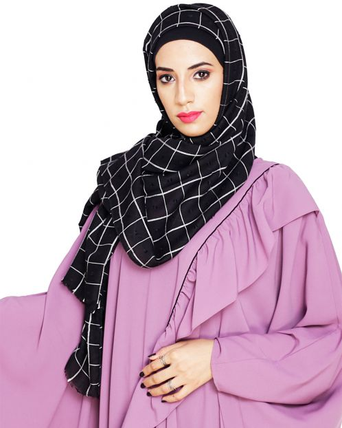 Classy Black with White Checquered Hijab