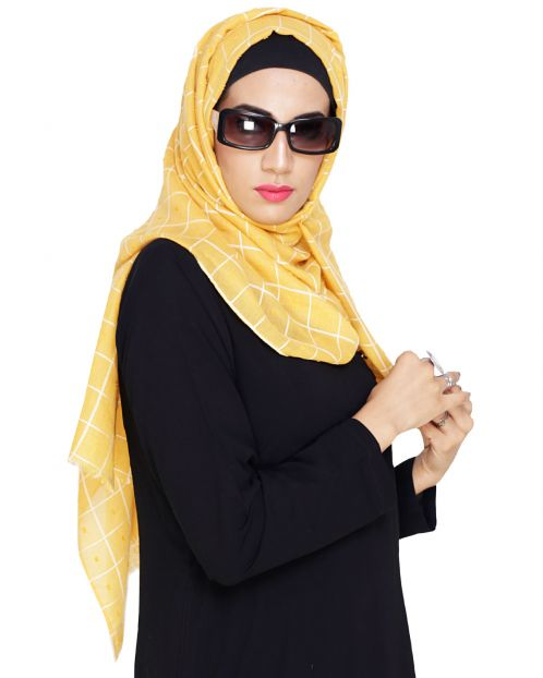 Classy Yellow with White Checquered Hijab
