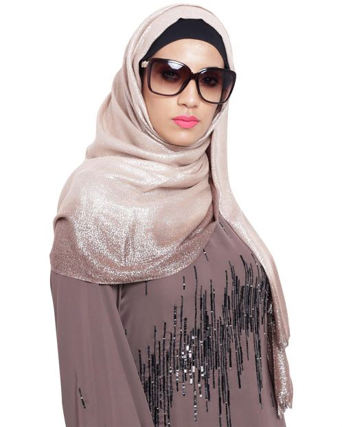 Beige and Brown Ombre Shimmer Hijab