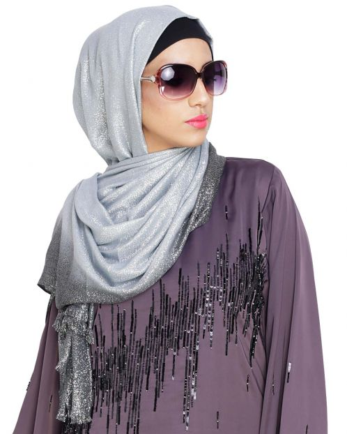 Grey and Black Ombre Shimmer Hijab