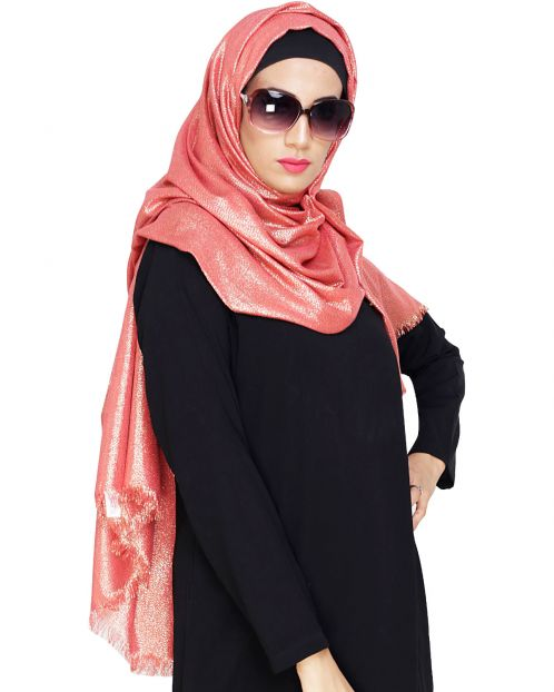 Elegant Red with Golden Shimmer Hijab