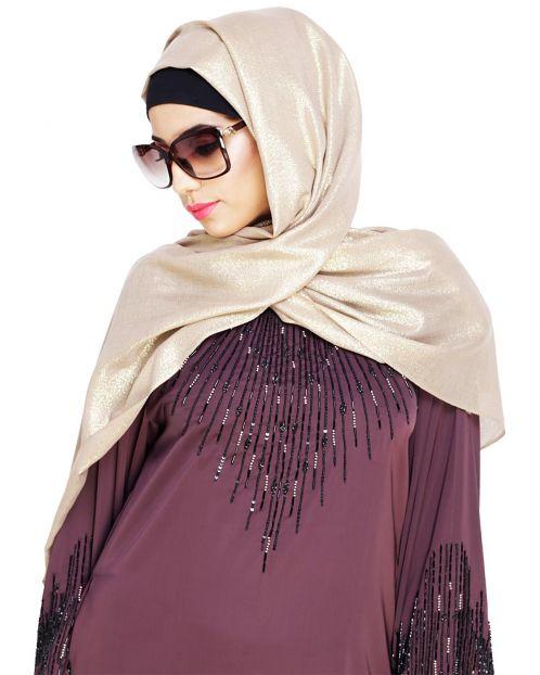 Elegant Beige with Golden Shimmer Hijab