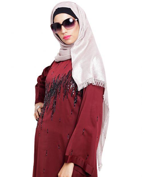 Elegant Light Beige with Golden Shimmer Hijab