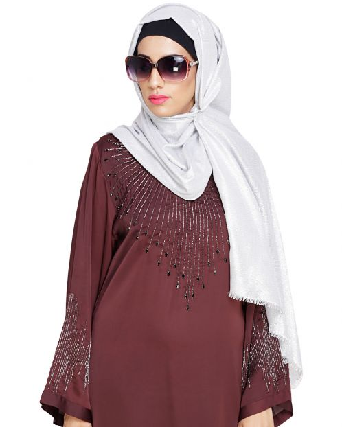 Elegant Silver with Golden Shimmer Hijab