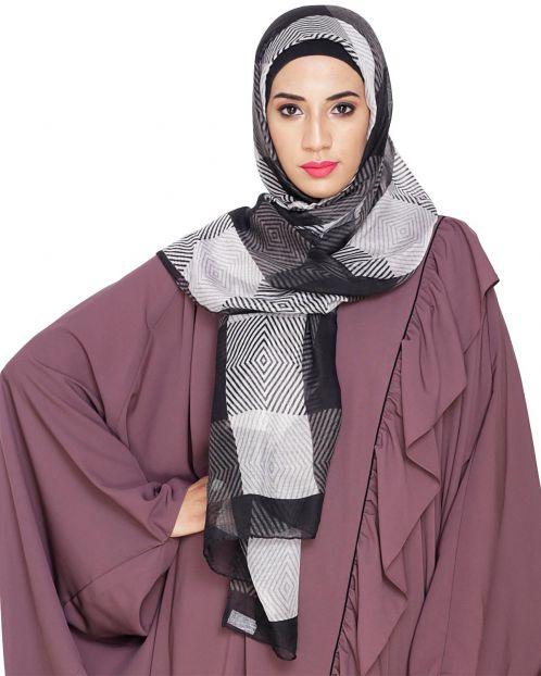 Black Rhombus printed Hijab
