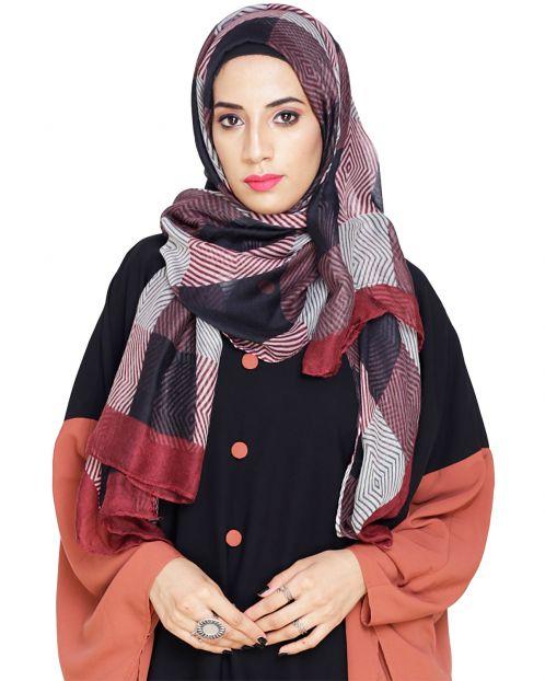 Wine Rhombus printed Hijab