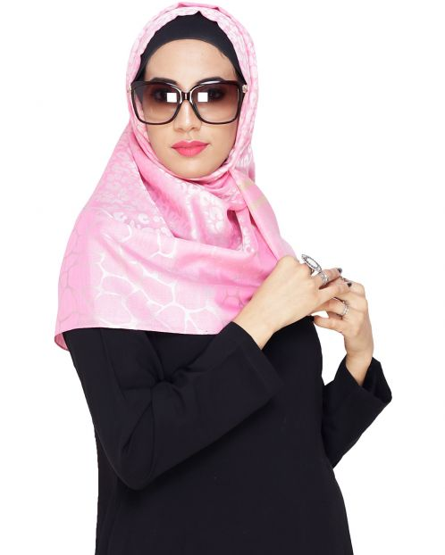 Pretty Pink Self Printed Hijab