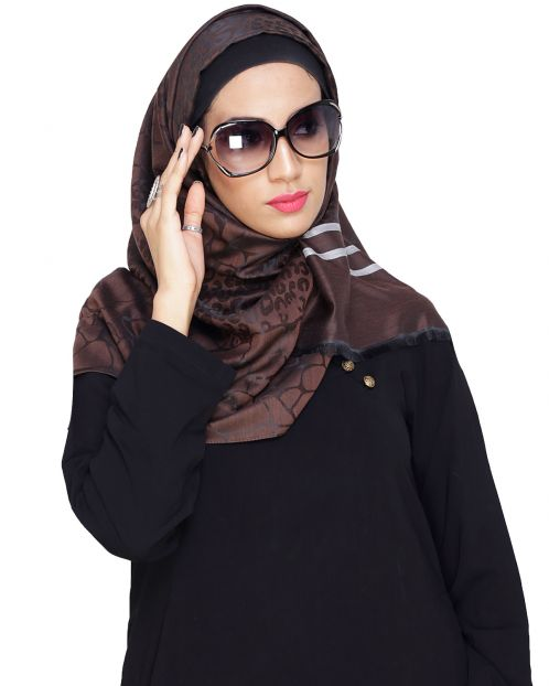 Pretty Brown Self Printed Hijab