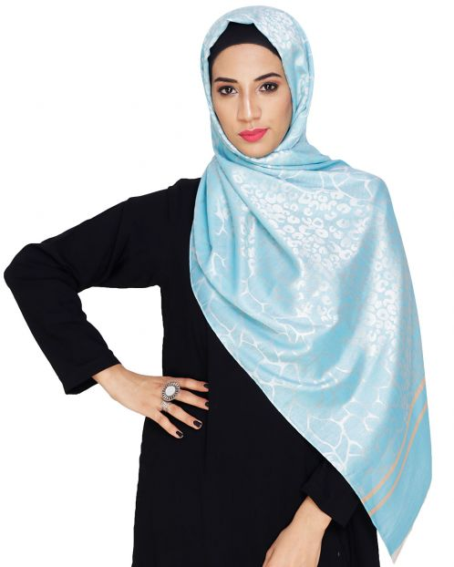 Pretty Blue Self Printed Hijab