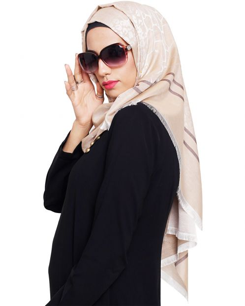 Pretty Beige Self Printed Hijab