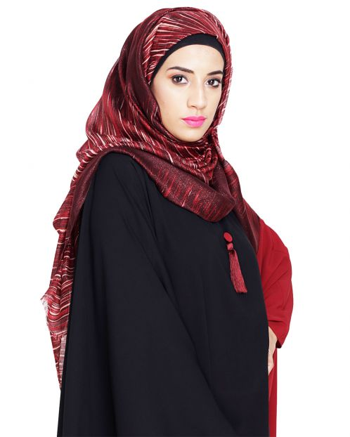 Stlyish Wine Abstract Pinted Hijab