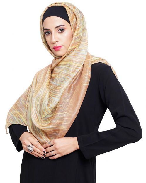 Stlyish Brown Abstract Pinted Hijab