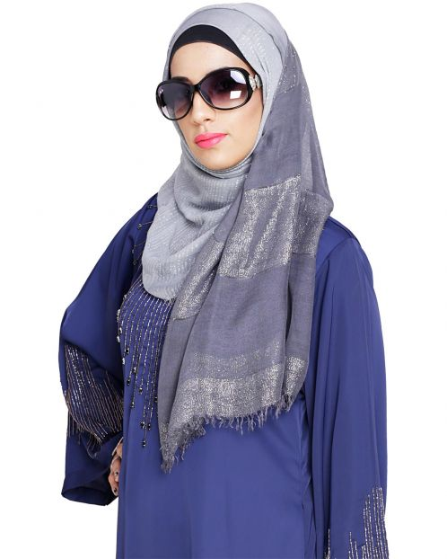 Sequined Grey & Dark Ombre Hijab
