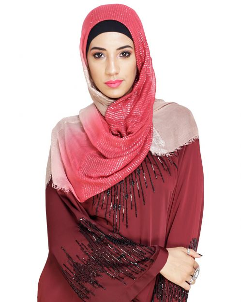 Sequined Beige & Maroon Ombre Hijab