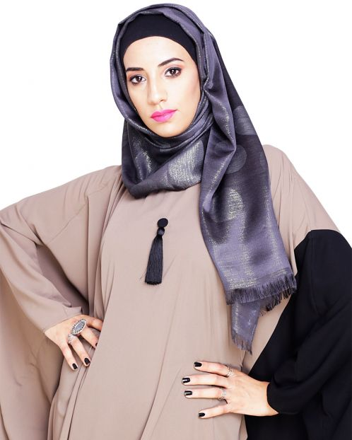 Golden Shimmery Black Hijab