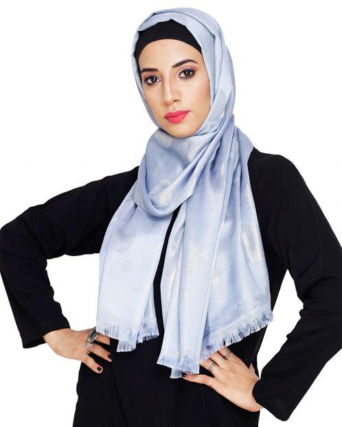 Golden Shimmer Blue Hijab