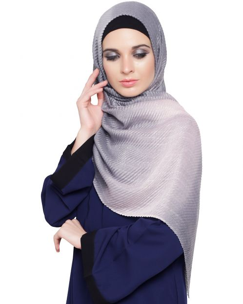 Grey Peach Ombre Crinkled Hijab