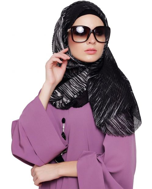 Shimmery Abstract Printed Hijab