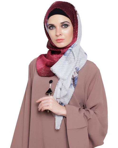 Shimmer Floral Printed Hijab