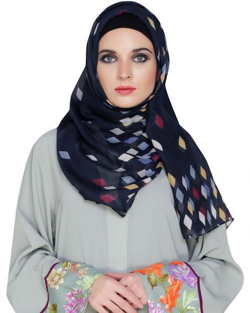 Rhombus Printed Cotton Hijab
