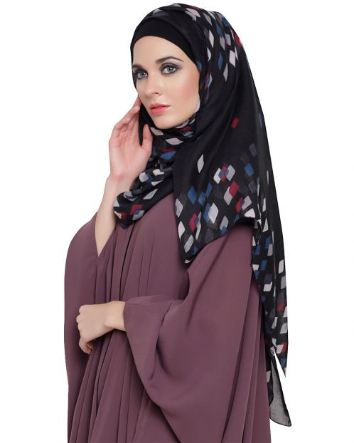 Rhombus Print Cotton Hijab