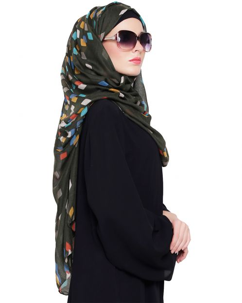 Rhombus Printed Cotton Hijaab