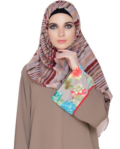 Wine Beige Stripes Cotton Hijab