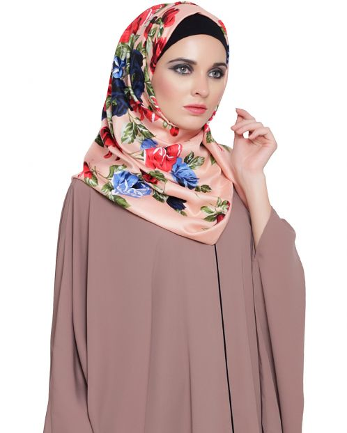 Peach Rose Print Hijab